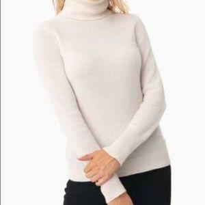 Claiborne Large Mock Turtleneck Ribbed Cotton Top